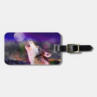 Howlin wolf - moon wolf - head wolf luggage tag