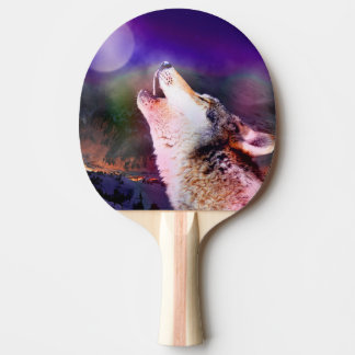 Howlin wolf - moon wolf - head wolf ping pong paddle
