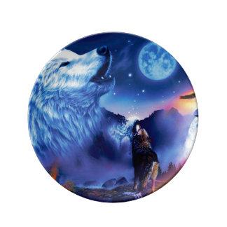 Howlin wolf - white wolf - wolf art - snow wolf plate