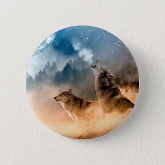 Howlin wolf - wolf art - moon wolf - forest wolf 2 inch round button