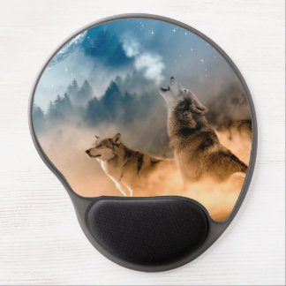 Howlin wolf - wolf art - moon wolf - forest wolf gel mouse pad