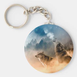 Howlin wolf - wolf art - moon wolf - forest wolf keychain
