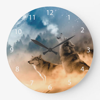 Howlin wolf - wolf art - moon wolf - forest wolf large clock