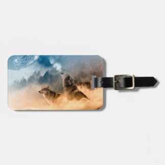 Howlin wolf - wolf art - moon wolf - forest wolf luggage tag