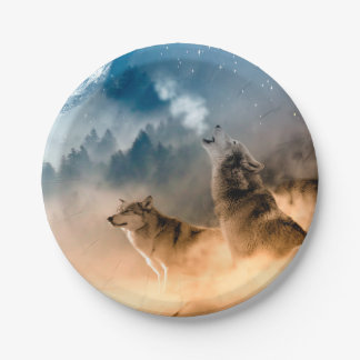 Howlin wolf - wolf art - moon wolf - forest wolf paper plate
