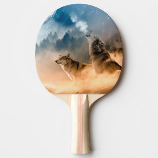 Howlin wolf - wolf art - moon wolf - forest wolf ping pong paddle