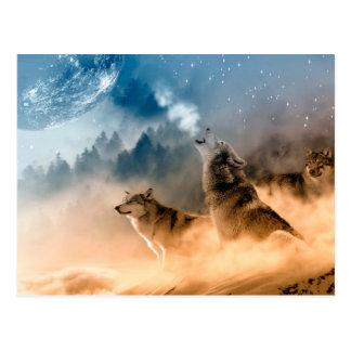 Howlin wolf - wolf art - moon wolf - forest wolf postcard