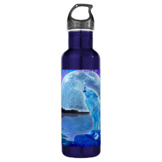 Howling Arctic Wolf & Full Moon Wildlife Photo 710 Ml Water Bottle