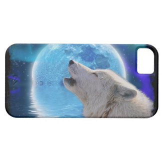 Howling Arctic Wolf, Moon & Aurora Wildlife Art iPhone 5 Cases