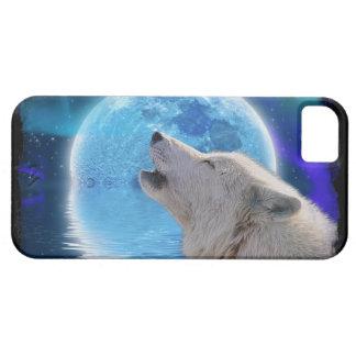 Howling Arctic Wolf, Moon & Aurora Wildlife Art iPhone 5 Cover