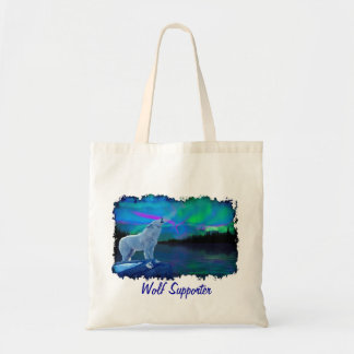 Howling Arctic Wolf & Northern Lights Tote Bag