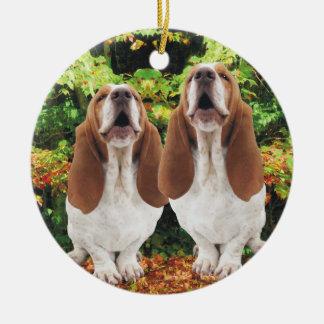 Howling Basset Hounds Christmas Ornament