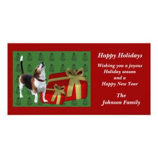 Howling Beagle Animal Christmas Holiday Card Photo Card
