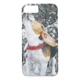 Howling Beagle Puppy in the Snow iPhone 7 Case