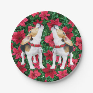Howling Beagles Poinsettias Christmas Paper Plates
