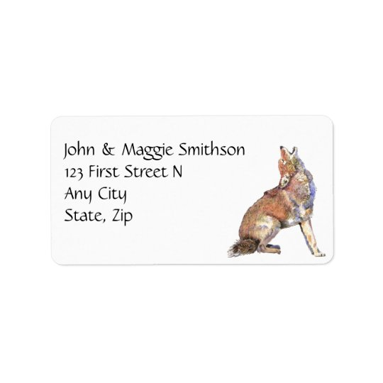 Howling Coyote - watercolor animal Custom Address Label