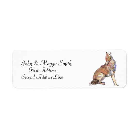 Howling Coyote - watercolor animal Custom Address Return Address Label