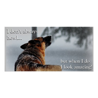 Howling German Shepherd Poster Perfect Poster