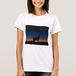 Howling Lone Wolf Starry Night Silhouette T-Shirt