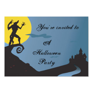 Howling Werewolf Halloween Party Card