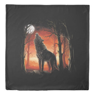 Howling Wolf at Sunset (2 sides) Queen Duvet Cover