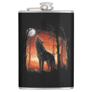 Howling Wolf at Sunset 8 oz Vinyl Wrapped Flask