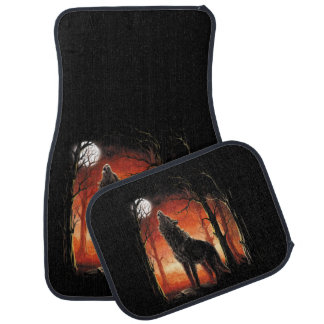 Howling Wolf at Sunset Car Mats Full Set