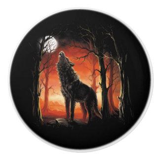 Howling Wolf at Sunset Ceramic Knob