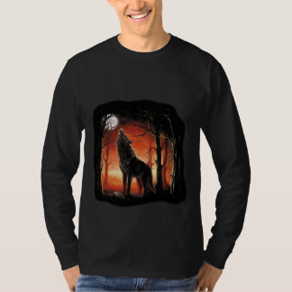 Howling Wolf at Sunset Long Sleeve T-Shirt