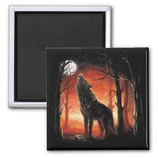Howling Wolf at Sunset Magnet