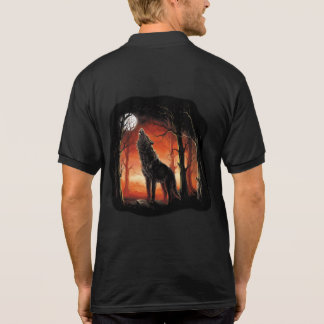 Howling Wolf at Sunset Polo Shirt