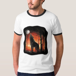 Howling Wolf at Sunset Ringer T-Shirt