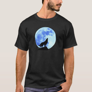 Howling Wolf At The Full Moon Men's Dark T-Shirt