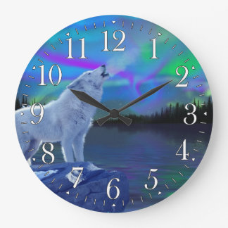 Howling Wolf & Aurora Wildlife Art Clock