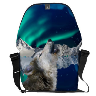 Howling Wolf & Aurora Wildlife Messenger Bag