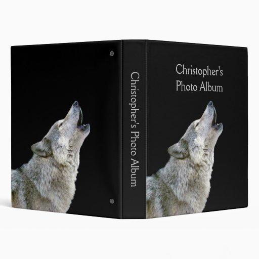 Howling wolf black photo album custom boys name binders