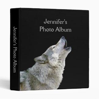 Howling wolf black photo album custom girls name binder