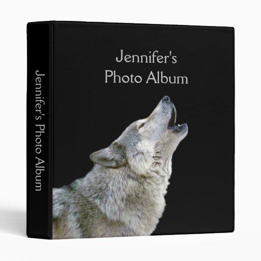 Howling wolf black photo album custom girls name 3 ring binders