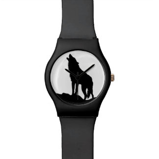 Howling wolf black wristwatch Japanese