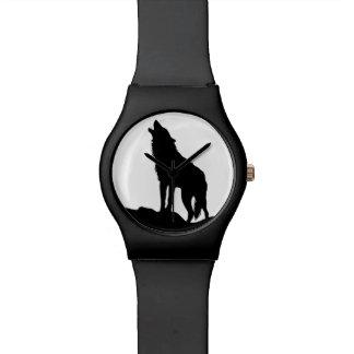Howling wolf black wristwatch Japanese