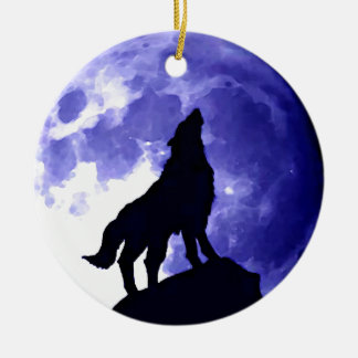 Howling Wolf & Fullmoon Round Ceramic Ornament