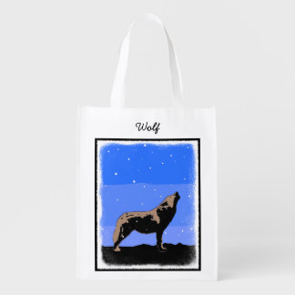Howling Wolf in Winter  - Original Wildlife Art Reusable Grocery Bag