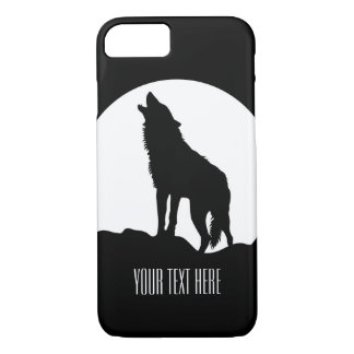 Howling wolf moon iPhone 7 case Black and white