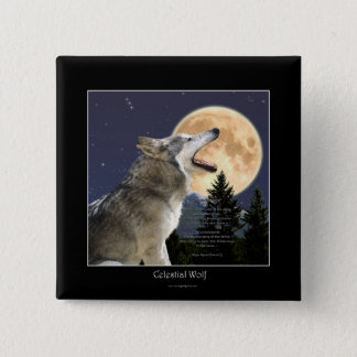 Howling Wolf & Moon Wildlife Art Button
