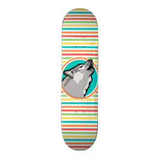 Howling Wolf on Bright Rainbow Stripes Skate Board