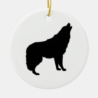 Howling Wolf Silhouette Ceramic Ornament