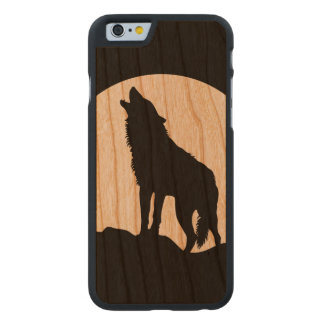 Howling wolf silhouette wood iPhone 6 case