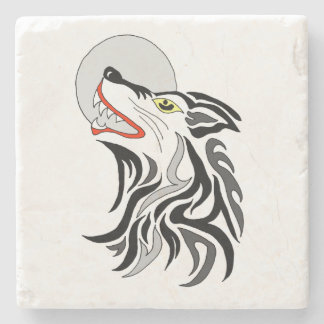 howling wolf stone coaster