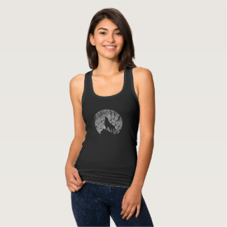 Howling Wolf   Tree Texture Graphic Tank Top