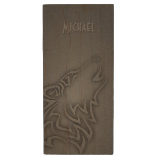 Howling Wolf Tribal Black Personalize Wood USB 2.0 Flash Drive